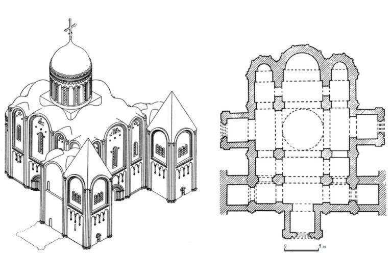 Реконструкция и план Успенского собора во Владимире. 1158–1160