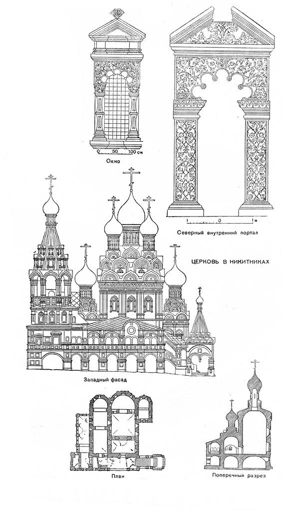 Реконструкция, план и разрез церкви Троицы в Никитниках. Ок. 1631–1634