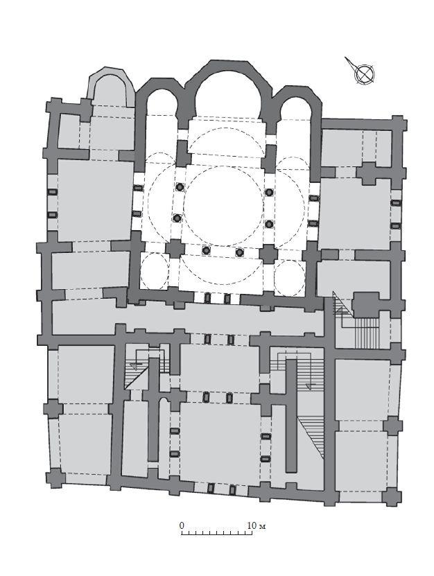 Реконструкция плана Десятинной церкви в Киеве, предложенная П. Л. Зыковым