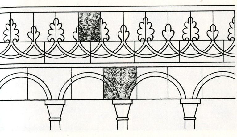 Реконструкция узора архитектурно-колончатого пояса Успенского собора Московского Кремля. 1326–1327