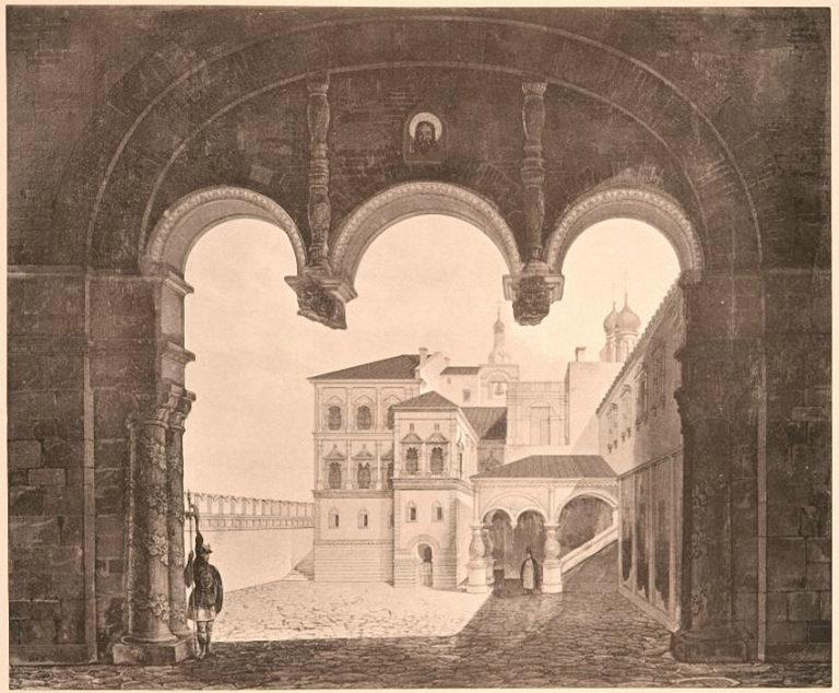 Рисунок-реконструкция Потешного дворца в Московском Кремле. 1886