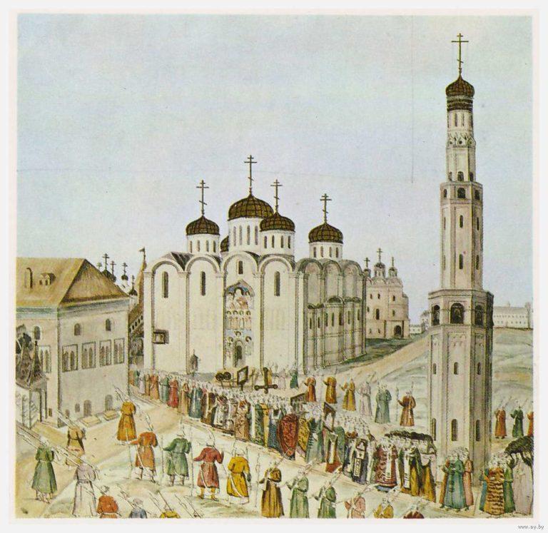 Шествие по территории Московского Кремля. 1672