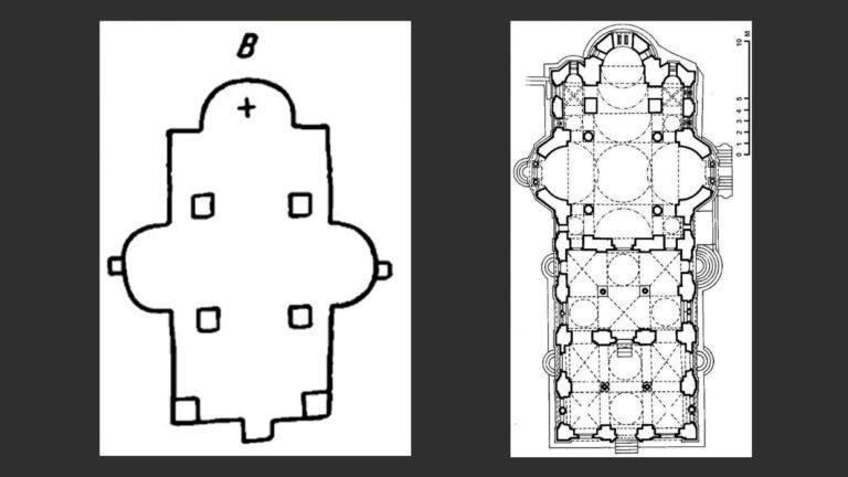 Слева: План храма Бельчицкого монастыря в Полоцке. Справа: План храма в монастыре Хиландар, Афон