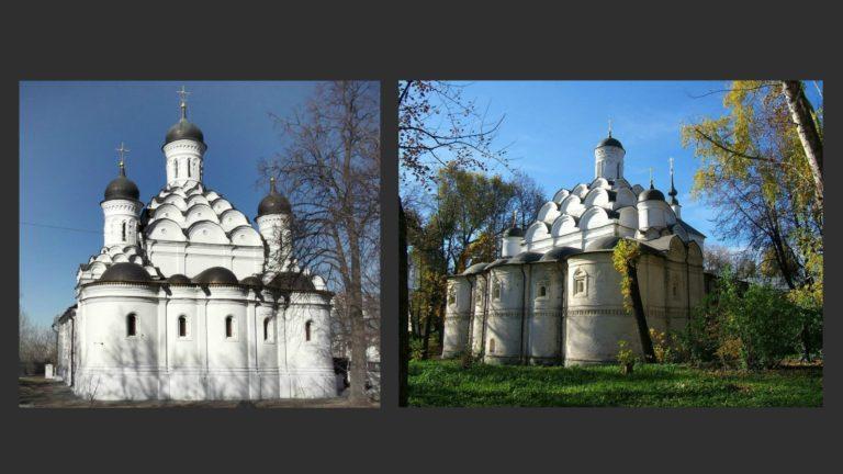 Слева: Церковь Троицы в Хорошеве. Ок. 1596–1598. Справа: Церковь Покрова Богородицы в Рубцове. Ок. 1625–1626. Москва