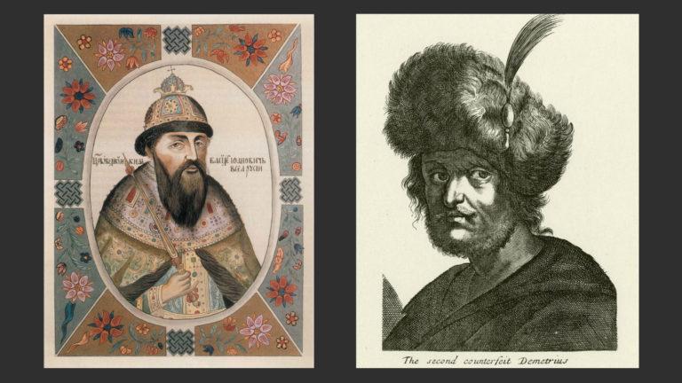 Слева: Василий Шуйский. 1672. Миниатюра из «Царского титулярника». Справа: Вымышленный портрет Лжедмитрия II. XVII в. Гравюра