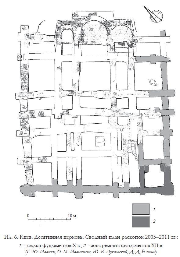 Сводный план раскопок Десятинной церкви в Киеве в 2005–2011 гг.