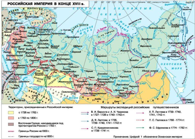 Территория Российской империи в XVIII в.