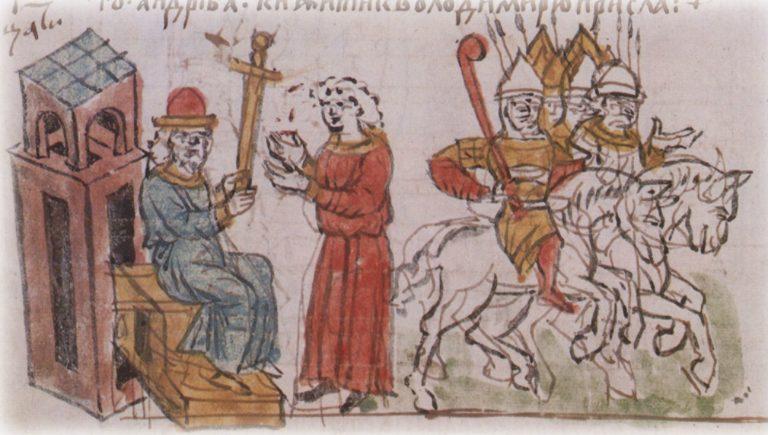 Владимир Мономах вручает княжеский меч своему сыну Андрею. Кон. XV в.