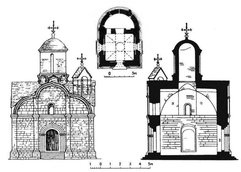 Западный фасад, план и разрез церкви Трифона в Напрудном