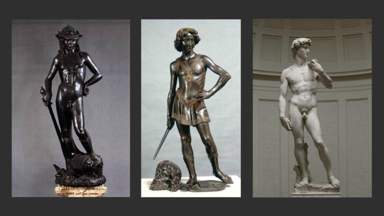 Давид. Ок. 1440. Скульптор – Донателло (1386–1466). Давид. 1472–1475. Скульптор – Андреа дель Верроккьо (1435–1488). Давид. 1501–1504. Скульптор – Микеланджело (1475–1564)
