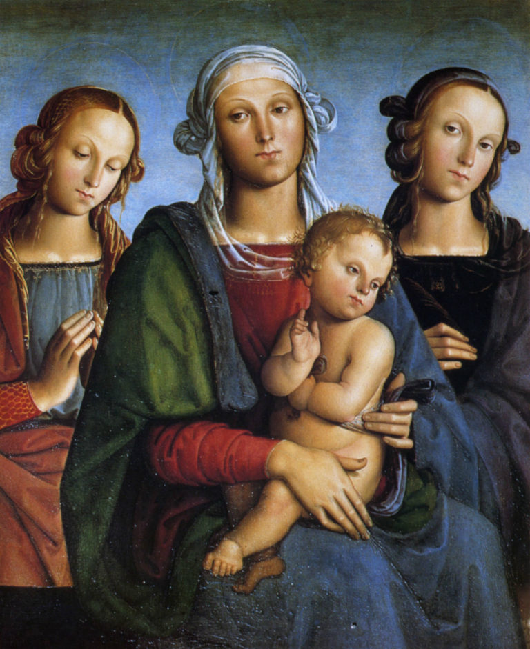 Мадонна с Младенцем, св. Екатериной и св. Розой. 1493–1495