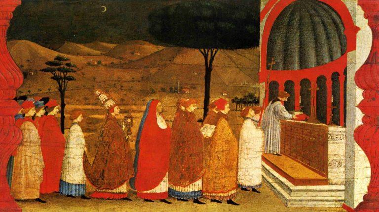 Панель из серии «Чудо осквернённой гостии». Пределла алтаря Корпуса Домини. 1467–1468
