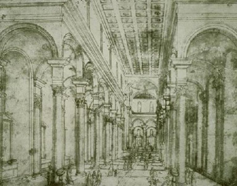 Перспективный рисунок церкви Санто Спирито. 1428
