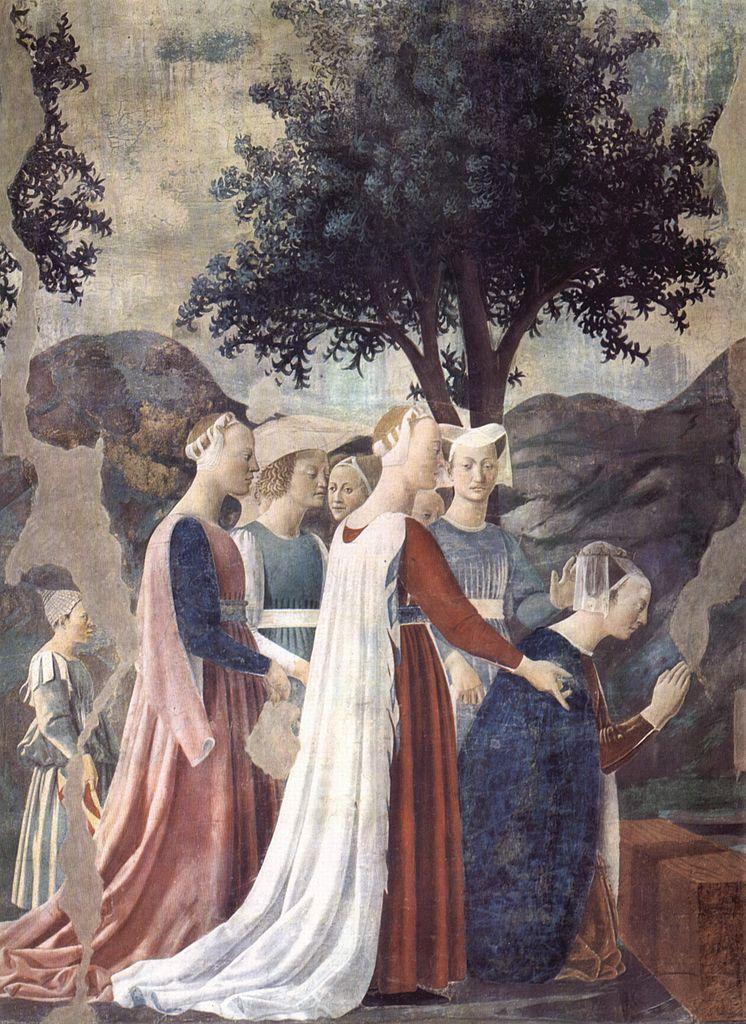 Поклонение Кресту и встреча Соломона с царицей Савской. Фрагмент. 1452–1466