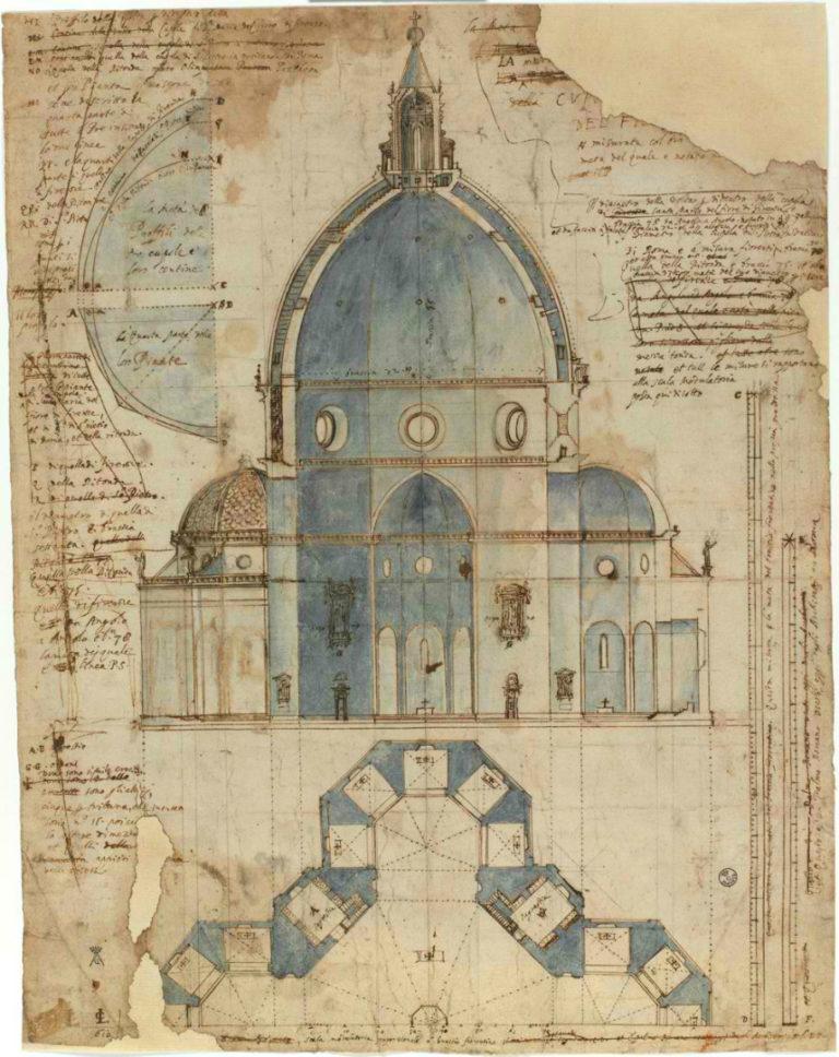 Разрез и план купола собора Санта Мария дель Фьоре