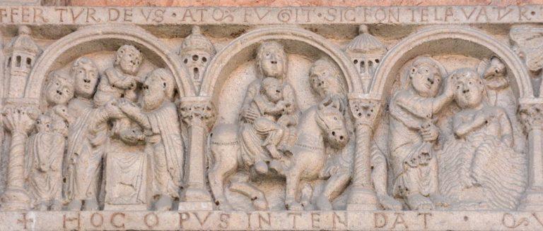 Рельефы на притолоке портала собора в Пьяченце. XII в.