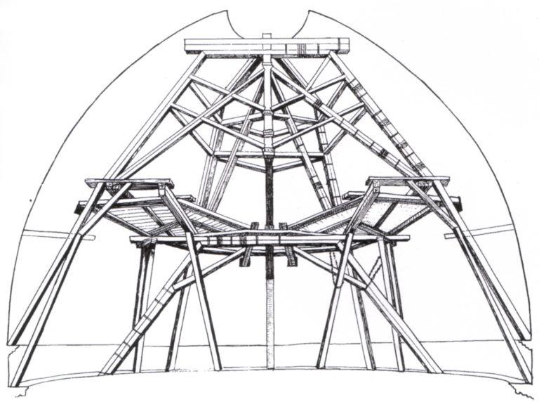 Схема внутренних лесов купола собора Санта Мария дель Фьоре, разработанная Филиппо Брунеллески