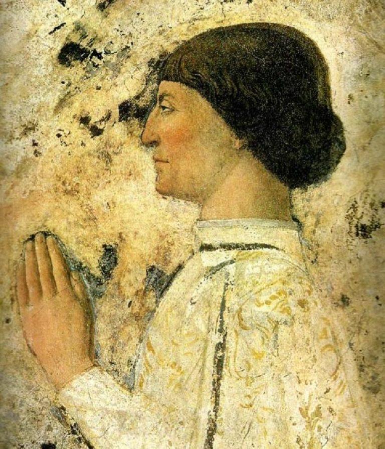 Сиджизмондо Малатеста перед святым Сигизмундом. Фрагмент. 1451