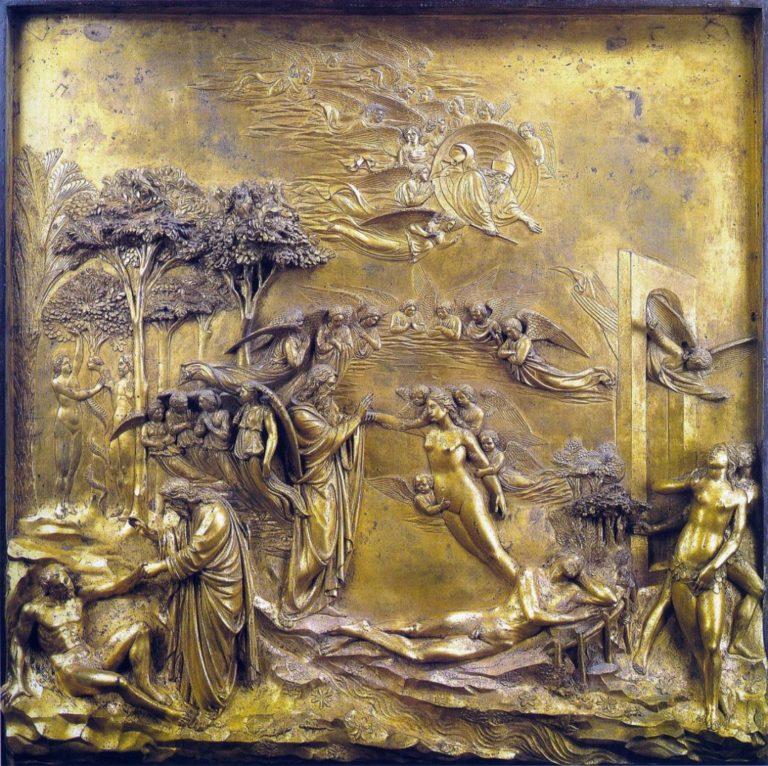 Сотворение Адама и Евы. Фрагмент «Райских врат». 1425–1452
