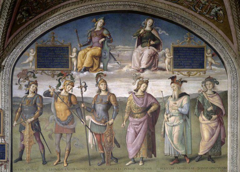 Стойкость, Сдержанность и шесть античных героев. 1496–1500