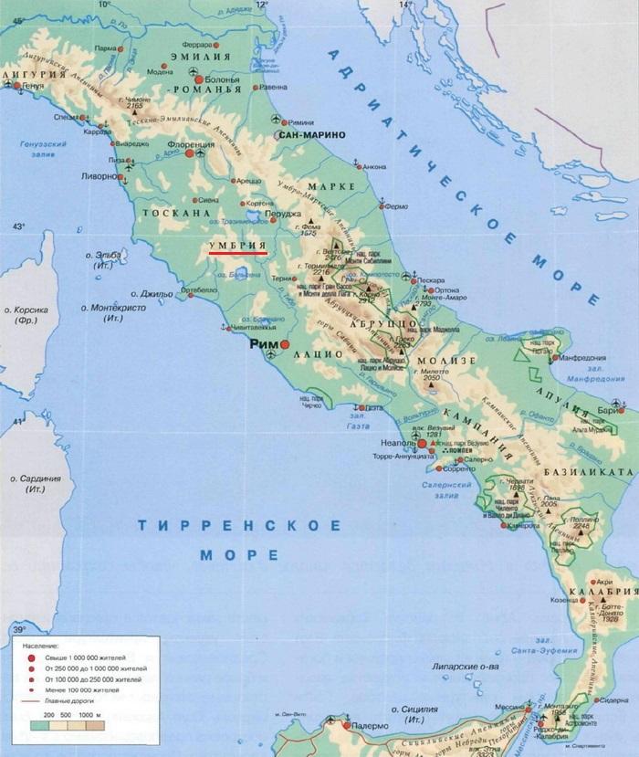 Умбрия на карте Италии