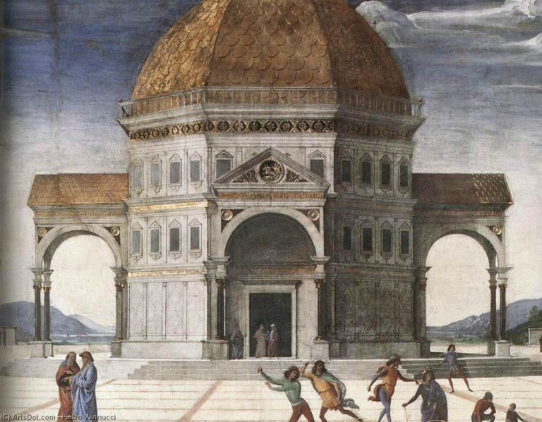 Вручение ключей св. Петру. Фрагмент с «идеальной архитектурой». Ок. 1482