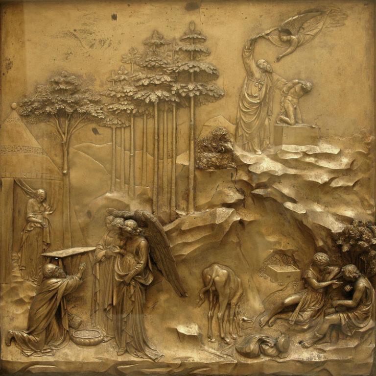 Жертвоприношение Авраама. Фрагмент «Райских врат». 1425–1452