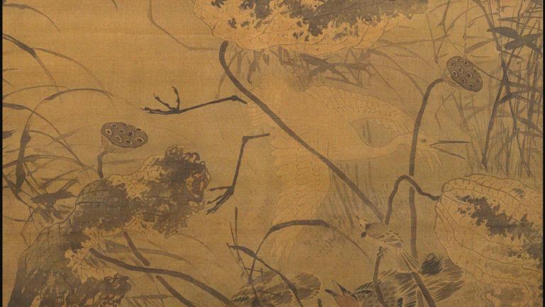 Белая цапля, орёл и падающие цветки лотоса. Фрагмент свитка. XV в.