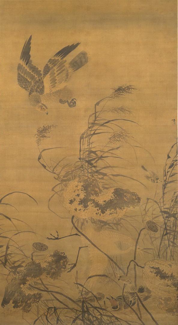Белая цапля, орёл и падающие цветки лотоса. XV в.