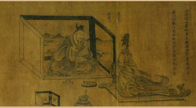 Беседа придворной дамы с наставником. Фрагмент свитка «Мудрые и добропорядочные женщины». Копия периода Сун (960–1279)