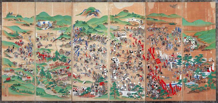 Битва при Сэкигахаре в 1600 г. Шестистворчатая ширма. Период Эдо (1615–1868), ок. 1854
