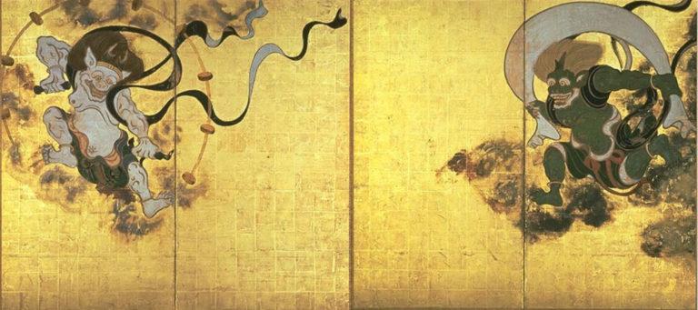 Боги ветра и грома. Пара двухстворчатых ширм. XVІІ в.