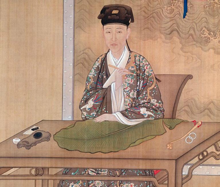 Будущий император Цяньлун упражняется в каллиграфии. Фрагмент. Ок. 1730