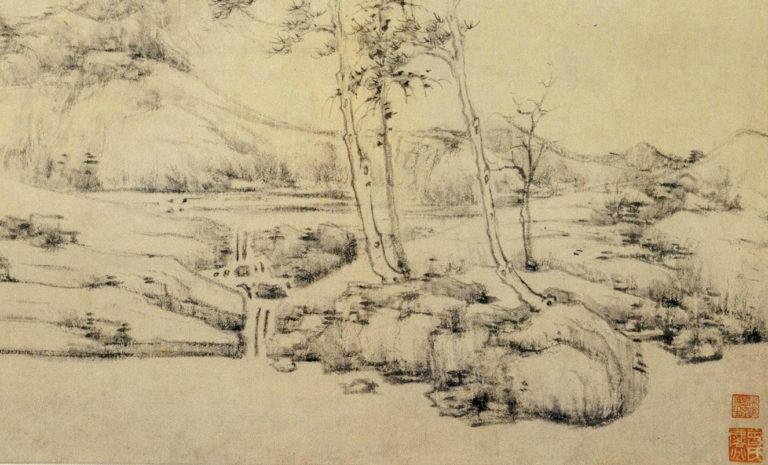Далёкий поток и холодные сосны. Фрагмент. 1370-е