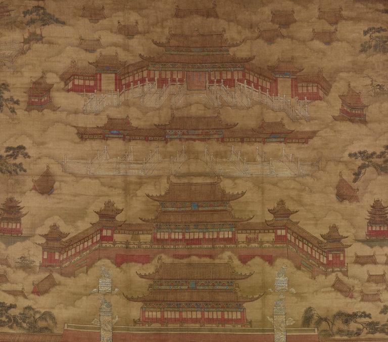 Два чиновника перед императорским дворцом в Пекине. Фрагмент свитка. XVІ в.