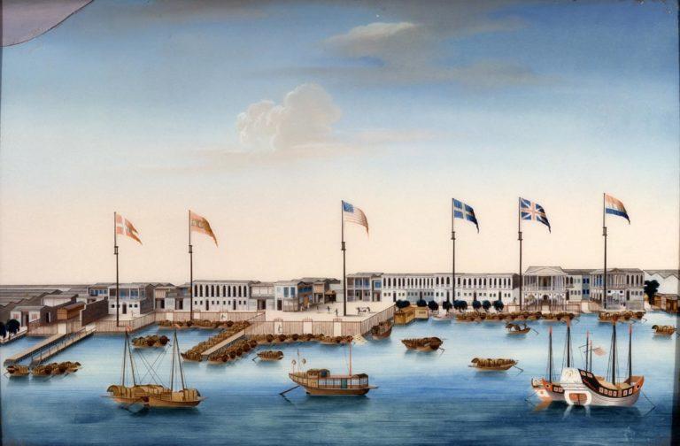Гавань и склады иностранных компаний в Кантоне (Гуанчжоу). Ок. 1805