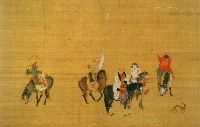 Хубилай-хан на охоте в пустыне Гоби. Фрагмент с всадниками. 1280