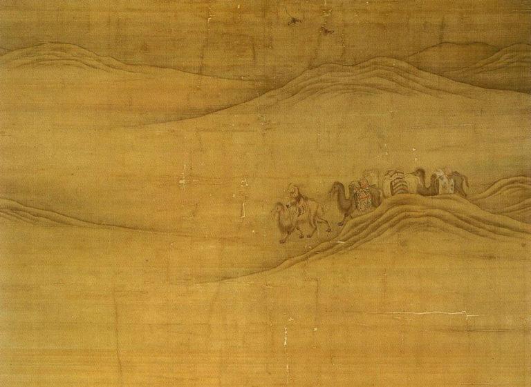 Хубилай-хан на охоте в пустыне Гоби. Фрагмент с верблюдами. 1280