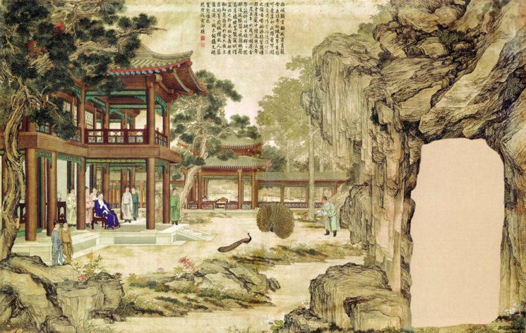 Император Цяньлун любуется павлином, распускающим хвост. 1758