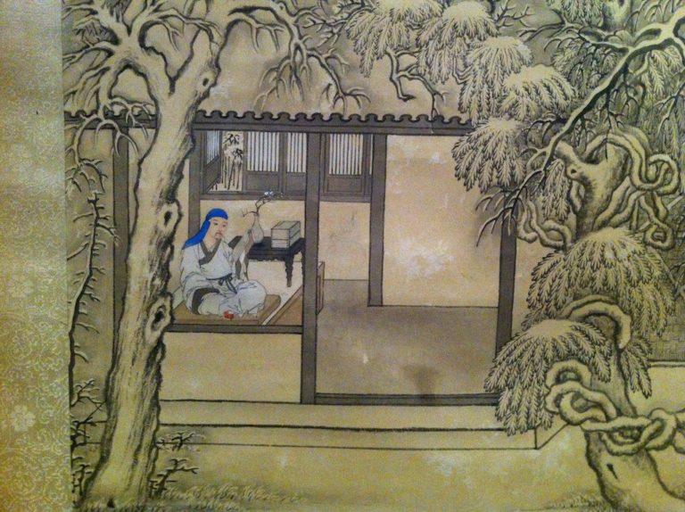 Император Цяньлун в снежном пейзаже. Фрагмент. XVIII в.