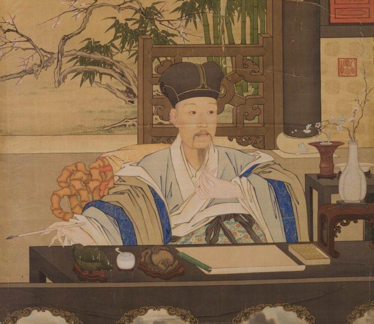 Император Цяньлун в своём кабинете. Фрагмент. XVIII в.