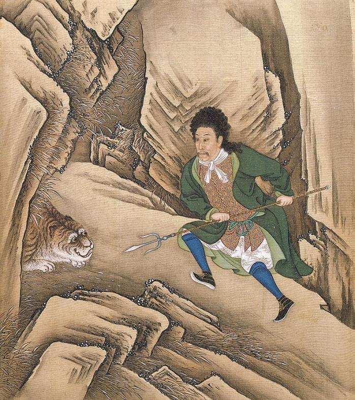 Император Юнчжэн в образе французского придворного побеждает тигра. Лист из «Альбома костюмированных портретов императора». 1723–1736
