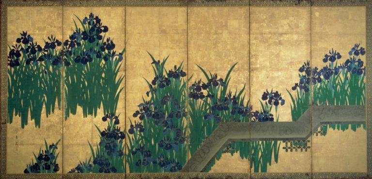 Ирисы у Яцубаси. Пара шестистворчатых ширм. Левая ширма. После 1709