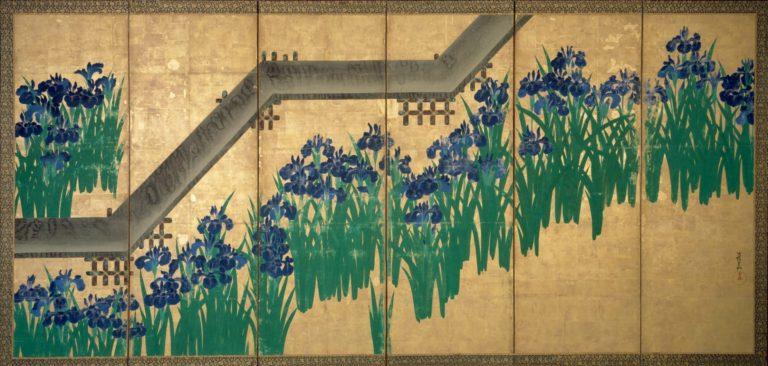 Ирисы у Яцубаси. Пара шестистворчатых ширм. Правая ширма. После 1709