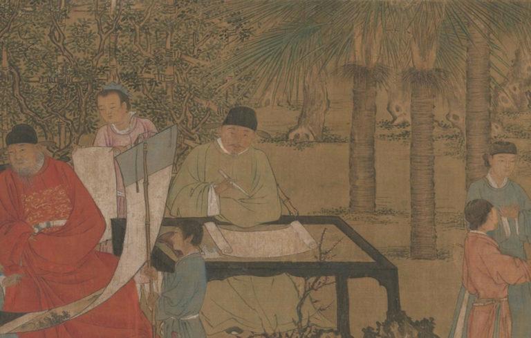 Изысканное собрание в абрикосовом саду. Фрагмент. Китай, ок. 1437
