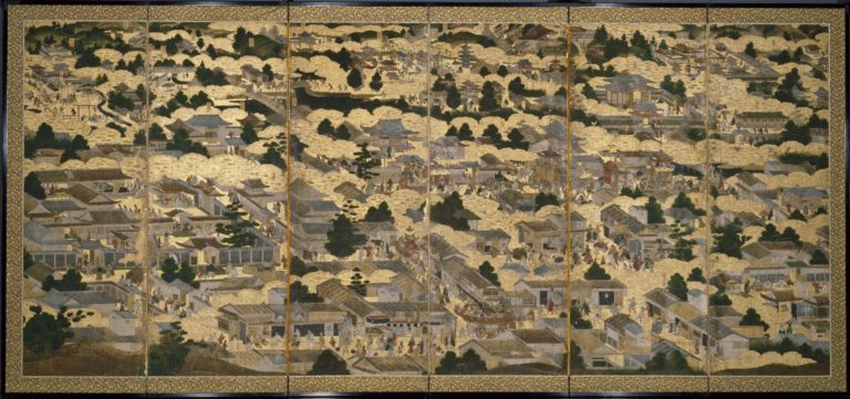 Картины внутри и вокруг Киото (Ракутю ракугай дзу). Парные шестистворчатые ширмы. Правая ширма. Период Эдо (1615–1868), ок. 1616–1624