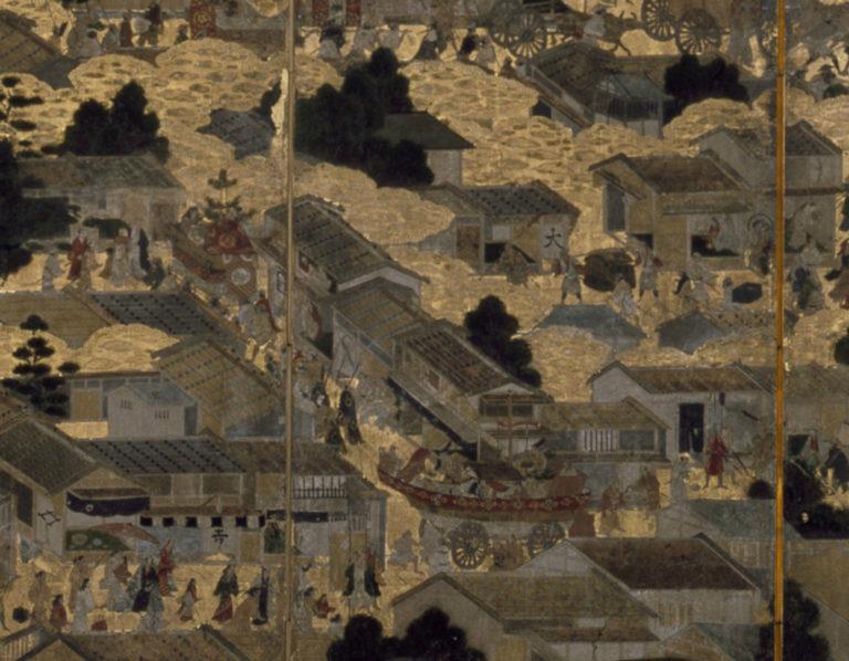 Картины внутри и вокруг Киото (Ракутю ракугай дзу). Парные шестистворчатые ширмы. Фрагмент правой ширмы. Период Эдо (1615–1868), ок. 1616–1624