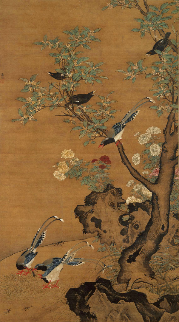 Кассия (коричник китайский), хризантема и горные птицы. XV в.
