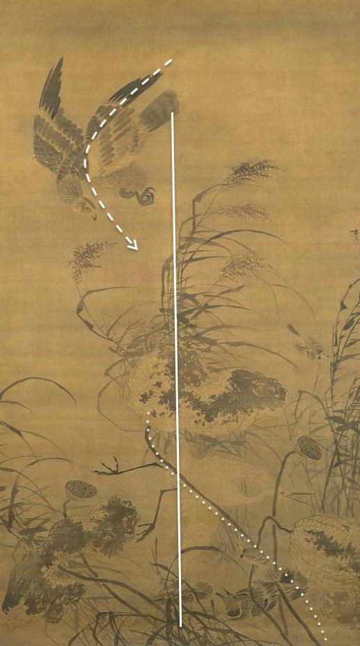 Композиция свитка «Белая цапля, орёл и падающие цветки лотоса». XV в.