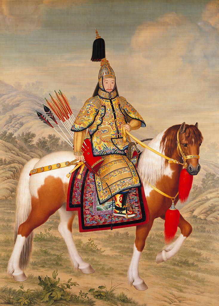 Конный портрет императора Цяньлуна в церемониальном доспехе, инспектирующего войска. 1758